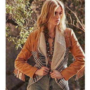 Chaser Lambskin Fringe Tweed Stripe Jacket S  $398